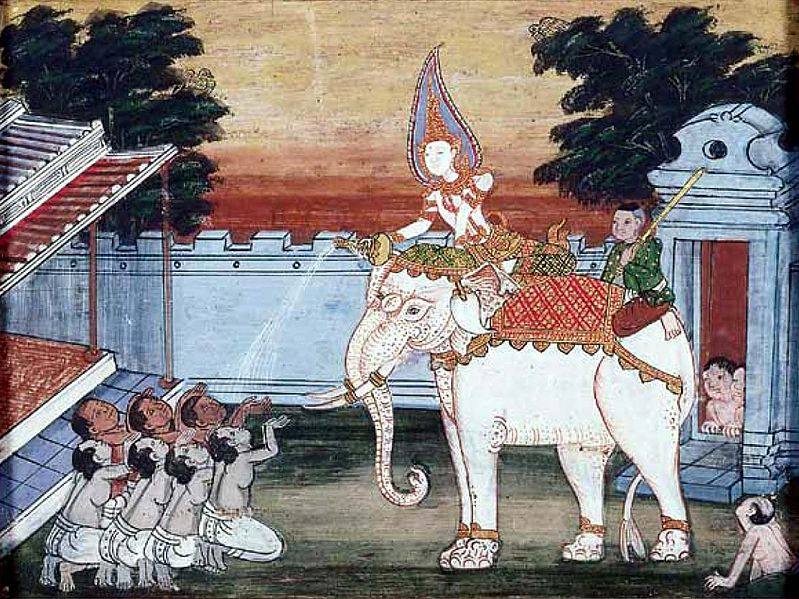 A depiction of a white elephant in 19th century Thai art